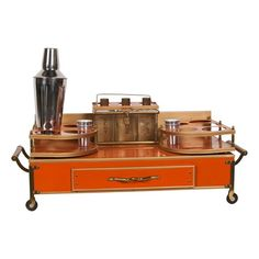 Orange Metal Mini Bar | 1960s From The V site. Someone please buy this. It's a fab deal!
