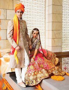 Indian bride wearing bridal lehenga and jewelry. Groom wearing sherwani and turban. Big Fat Indian Wedding, Indian Bridal Wear, Indian Wedding Outfits, Bridal Outfits, Indian Wear, Indian Outfits, Indian Weddings, Bridal Dresses, Style Indien