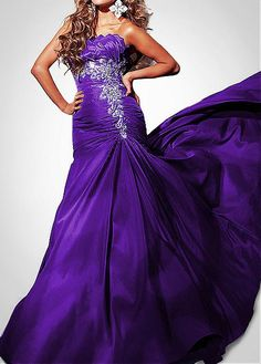 Elegant Taffeta Mermaid Strapless Purple Long Prom Dress With Appliques and Beadings Prom Dresses