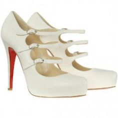 Christian Louboutin Pices Pumps Lillian 120mm Triple Buckle White