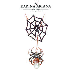 Lariat Style Web Necklace with Black Widow Spider Drop Shown with Mother of Pearl and Brown and White CZ Accents KAP-B616 $450 #KarinaAriana #sterlingsilver #Ember #Passion #fashion #jewelry #necklace #pendant #BlackWidow #spider #Gothic #Halloween