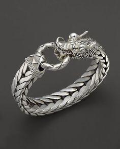 John Hardy Men's Naga Silver Dragon Head Bracelet on Fishtail Chain