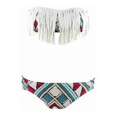 aztec bathing suit ❤ liked on Polyvore