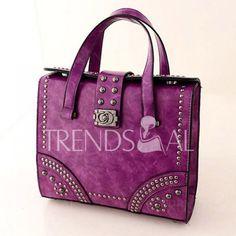 Retro Solid Color and Rivets Design Women's Tote Bag