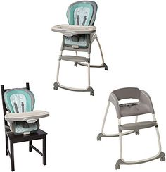 The Trio 3-in-1 Deluxe High Chair™ from Ingenuity™ is three great seats in one! This amazing high chair provides three different seating modes to grow with baby from infant to toddler: a full-size high chair, a booster seat, and a toddler chair. This is one chair that will grow with your family. Using both booster and toddler chair modes, the Trio can even accommodate two children at the same time! The EasyClean™ tray includes handy cup holders and is dishwasher-safe so baby c...