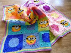 Crochet minion blanket granny square minion by Mydayboutique