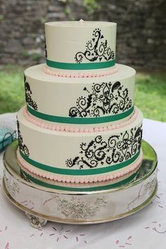 Wedding, Cake, Pink, Blue, Paisley