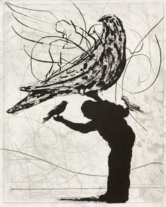 William Kentridge (1955)  The Magic Flute: Man and Bird ('mixed technique')