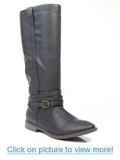 Qupid Vance-11 Women Black Buckle Round Toe Riding Knee High Boot Black