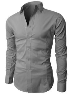 H2H Mens Wrinkle Free Slim Fit Dress shirts with Solid Long Sleeve GRAY XXL (JASK14) $27.99 #H2H