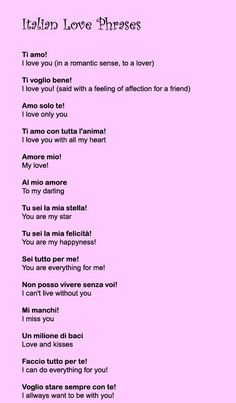 LEARNING ITALIAN - Italian Love Phrases Need to learn some of these. Description from pinterest.com. I searched for this on bing.com/images