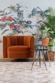 Dutchbone Flower lounge chair is classy, contemporary and art nouveau in one! This comfortable lounge chair is upholstered with velvet! Decor, Retro Home Decor, Interior Trend, Interior, Textured Carpet, Terracotta, Boho Interior, Trending Decor, Cool Chairs