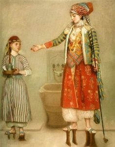 """In case of mud !!!  """"Lady in Turkish Costume With Her Servant at the Hammam,"""" Jean-Etienne Liotard"""