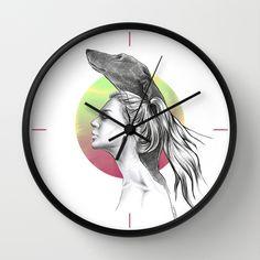 #home #wallart #clock #woman #greyhound #dog #drawing #art