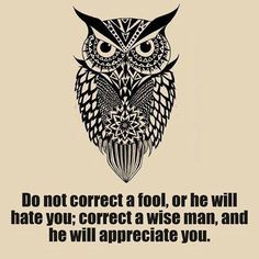 Do not correct a fool or he will hate you. Correct a wise man and he will appreciate you. Knowledge, power, intelligence. Owls.