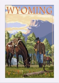 Wyoming - Cowboy and Horse in Spring - Lantern Press Artwork (12x18 Giclee Art Print, Gallery Framed, White Wood), Multi