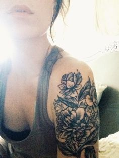 black and white floral tattoo