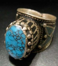 Turquoise Set in Inlaid Silver Ring - OS.335 Origin: AAfghanistan Circa: 19 th Century AD  Collection: Jewelry Medium: Turquoise and Silver