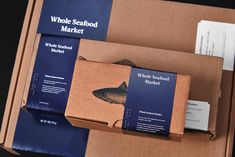 Modern Identity System Incorporating Illustration and Photography for Whole Seafood Market - World Brand Design Food Branding, Food Packaging Design, Packaging Design Inspiration, Branding Design, Menu Design, Stationery Design, Design Design, Graphic Design, Seafood Market