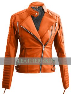 NWT Orange Brando Women Ladies Sexy Stylish Premium Synthetic Leather Jacket - Coats & Jackets