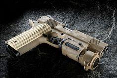 Nighthawk Custom 1911 GRP (Global Response Pistol) in desert tan digicamo Revolver, Fire Powers, Home Defense, Cool Guns, Guns And Ammo, Weapons Guns, Survival Gear, Tactical Gear, Firearms