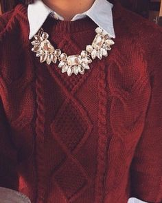 burgundy sweater and white collared shirt with crystal necklace