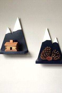 DIY - Display your stuff on the highest peak. - Diy basteln - Shelves in Bedroom Wood Crafts, Diy And Crafts, Deco Nature, Ideias Diy, Kids Room Design, Baby Room, Child Room, Room Kids, Kids Rooms