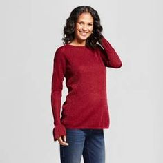 Pull on your new go-to - the Maternity Bell-Sleeve Sweater from Isabel Maternity by Ingrid & Isabel™. This cozy cotton maternity sweater features charming bell sleeves and woven-in metallic accents for the perfect amount of shine. With plenty of coverage for your growing bump, you'll want to live in this beautiful maternity sweater.