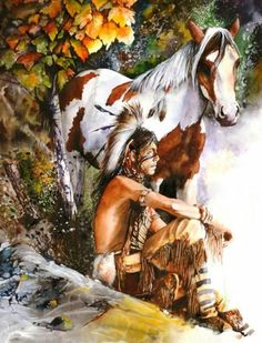 """""""Sunburst"""" by Peter Williams. A watercolour painting depicting a young Native American Indian boy watching the sun come up from a high point with his Indian pony beside him. Native American Horses, Native American Paintings, Native American Pictures, Native American Artists, Native American History, Indian Paintings, American Indians, Indian Horses, Art Aquarelle"""