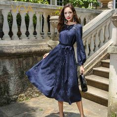 7662b985a08e2 VOA Heavy Silk Jacquard Plus Size 5XL Dress Navy Blue Long Sleeve - US   509.15