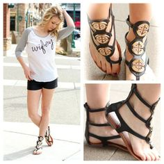 Tory Burch inspired gladiators. Amazing & cute! Rhinestone bling on gold hardware. Top it off with a Wifey top! So cute! http://www.nanamacs.com/black-burch-gladiator-sandals/ #nanamacs #gladiatorsandals #sandals #wifey #shoes #newarrivals #photooftheday Buy @NanaMacs Boutique