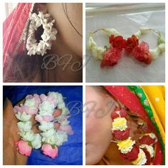 Bridal Flower Mehndi Earrings Freshbir Artificial By Jewellery