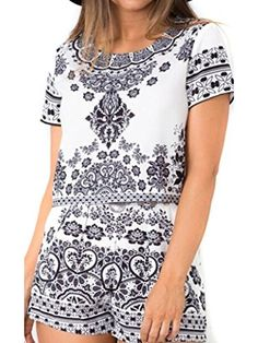 Clothink Women Black Floral Print Round neck Short Sleeve Crop Top And Shorts - Brought to you by Avarsha.com