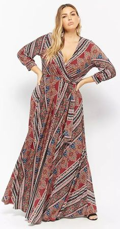 Plus Size Ornate Print Maxi Dress