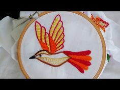 Hand Embroidery Designs # 140 - cast & bar buttonhole stitch design - YouTube