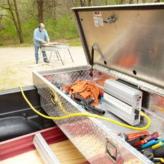 Generate power for corded tools without the cost and hassle of a gas-powered generator by wiring a power inverter to your truck battery. Gas Powered Generator, Emergency Generator, Portable Generator, Inverter Generator, Diy Generator, Power Generator, Truck Tools, Truck Tool Box, Garage Tools