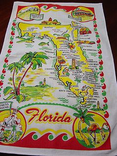 Vintage Florida Souvenir Kitchen Towel
