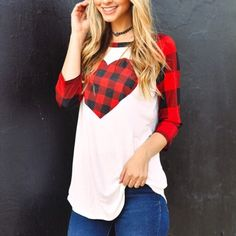 95%RAYON 5%SPANDEX  3/4 SLEEVE CASUAL TOP WITH PLAID PRINT DETAILS  MADE IN USA | Shop this product here: http://spreesy.com/RachelsChicBtq/219 | Shop all of our products at http://spreesy.com/RachelsChicBtq    | Pinterest selling powered by Spreesy.com
