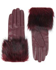 Faux fur trimmed gloves - Mid Red   Scarves & Gloves   Ted Baker