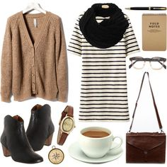 Beige cardigan, black and white striped dress, black scarf, black ankle booties