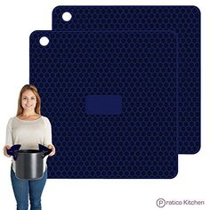 Pratipad PLUS 4in1 Multipurpose Silicone Pot Holders Trivets Jar Openers  Spoon Rests  Extra Thick Protection  Set of 2 Navy Blue -- Check this awesome product by going to the link at the image.