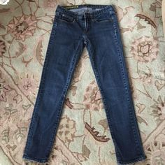 "J. Crew ✨Toothpick Skinny Jeans Blue stretch skinny jeans. Size 26. Small discolor on leg, see pic 4. The inseam measures 26"" J. Crew Jeans Skinny"