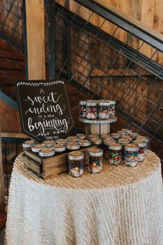 sweets for the road wedding favors / http://www.deerpearlflowers.com/rustic-wedding-details-and-ideas/3/
