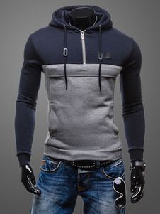 Lace Up Hoodie Color Block Cotton Slim Fit Hoodie for Men