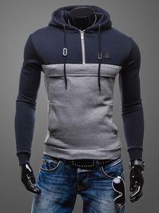 Ate para arriba sudadera con capucha Color bloque Slim Fit con capucha de algodón para hombres