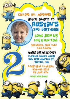 Create own minion birthday invitations modern templates despicable me 2 minions custom birthday invitation stopboris Images
