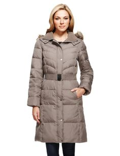 M&S+Collection+Hooded+Down+Filled+Long+Belted+Coat+with+Stormwear™