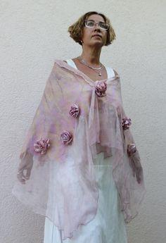 Fieltro Nuno bufanda de fieltro chal bufanda de fieltro merino lana seda batanado a las mujeres el arte eco rosa polvoriento verano primavera