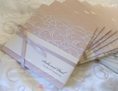 Country sleeve pocket invitations with lace for rustic elegant weddings by www.tangodesign.com.au #laceinvitations #countryweddinginvitations #pocketweddinginvitations