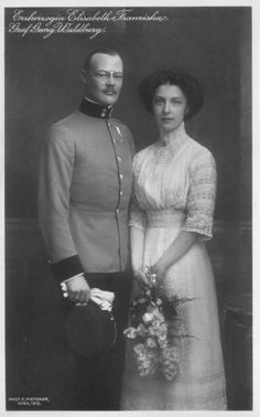 """1912 Archduchess Elisabeth Franziska and Count Georg of Waldburg..This photo is a wonderful example of 1912 fashion and a """"lingerie dress"""" loaded with expanses of lace and embroidery."""